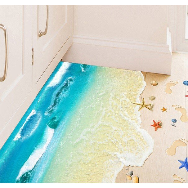 ウォールステッカー 波の砂浜 ヒトデ 貝殻 床用 ペーパーシール だまし絵 足跡 爽やかな フロア ビーチ 41wallsticker