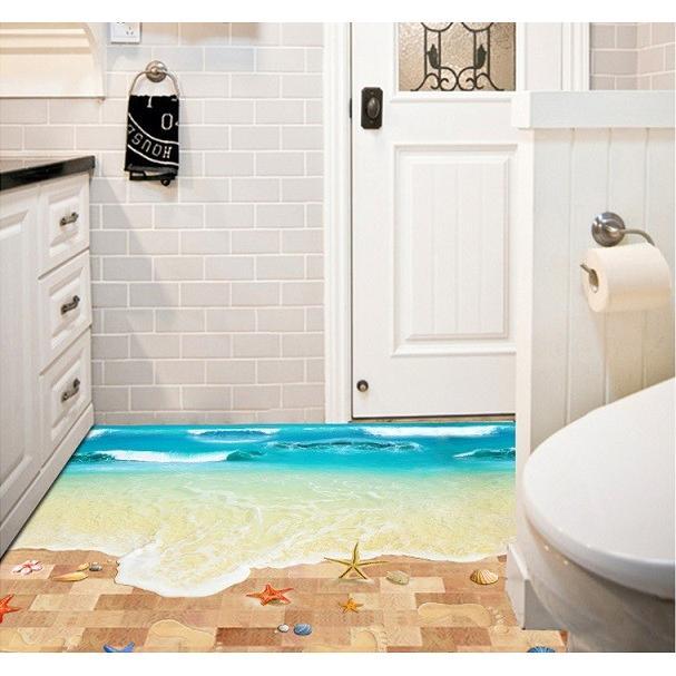 ウォールステッカー 波の砂浜 ヒトデ 貝殻 床用 ペーパーシール だまし絵 足跡 爽やかな フロア ビーチ 41wallsticker 02