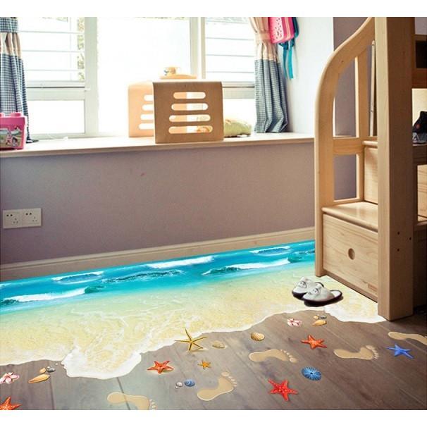 ウォールステッカー 波の砂浜 ヒトデ 貝殻 床用 ペーパーシール だまし絵 足跡 爽やかな フロア ビーチ 41wallsticker 05
