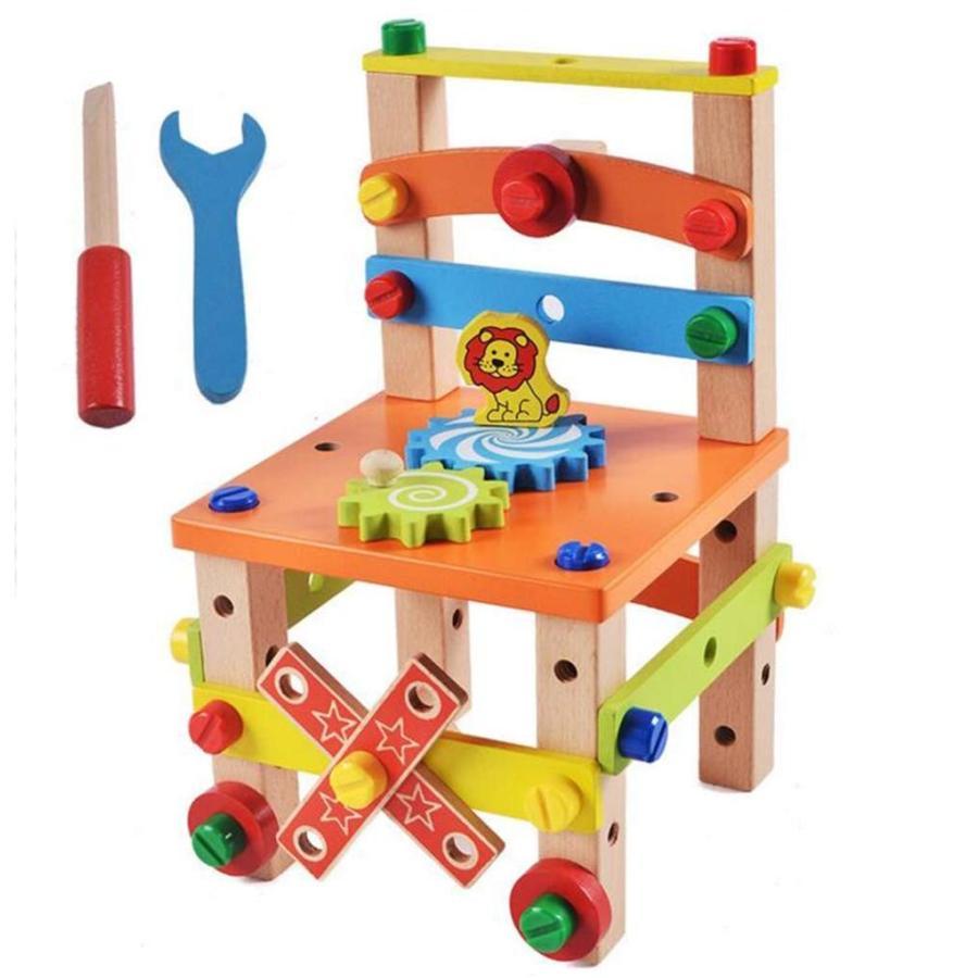 男の子のおもちゃ 知育玩具 大工さんセット 積み木 おままごと 木製ツールボックス 組み立て クリスマスプレゼント ギフト B