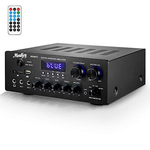 Moukey パワーアンプ システム マイクミキサー 最大出力220W Bluetooth ...
