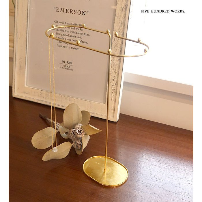 インブルーム アクセサリースタンドA(真鍮風)新入荷 500WORKS.アクセサリー スタンド 収納 かわいい 見せる収納 真鍮風 inbloom Creer/クレエ STORAGE