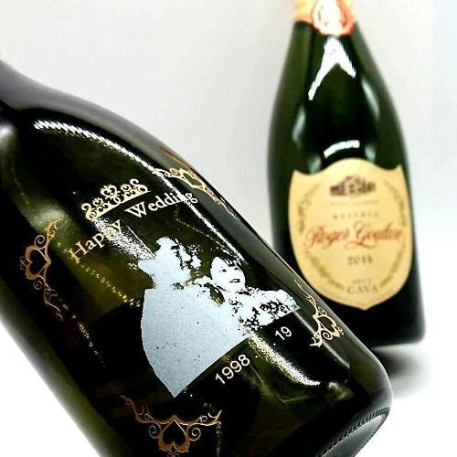 名入れ 写真彫刻 マグナムボトル スパークリングワイン 1500ml ロヂャーグラート カバ ゴールド・ブリュット プレゼント お祝い 記念品 サプライス|7colors-glassart|02