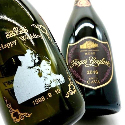 マグナムボトル 写真彫刻 1500ml スパークリングワイン ロヂャーグラート ロゼ ゴールド・ブリュット マグナム|7colors-glassart|02