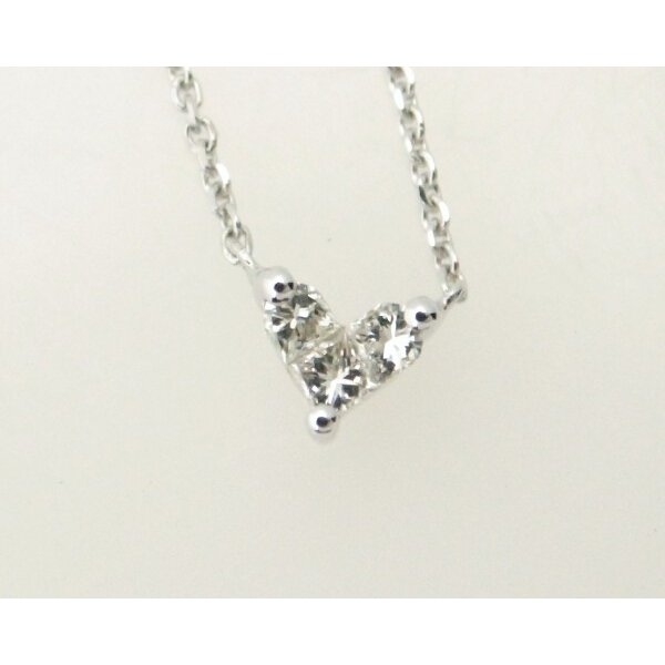 ダイヤモンドネックレス K18WG(18金 ホワイトゴールド) ハートモチーフ 質屋出品|7saito