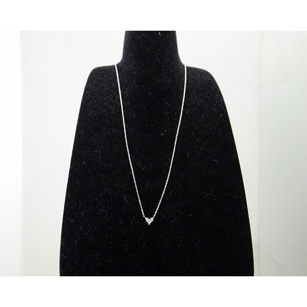 ダイヤモンドネックレス K18WG(18金 ホワイトゴールド) ハートモチーフ 質屋出品|7saito|04