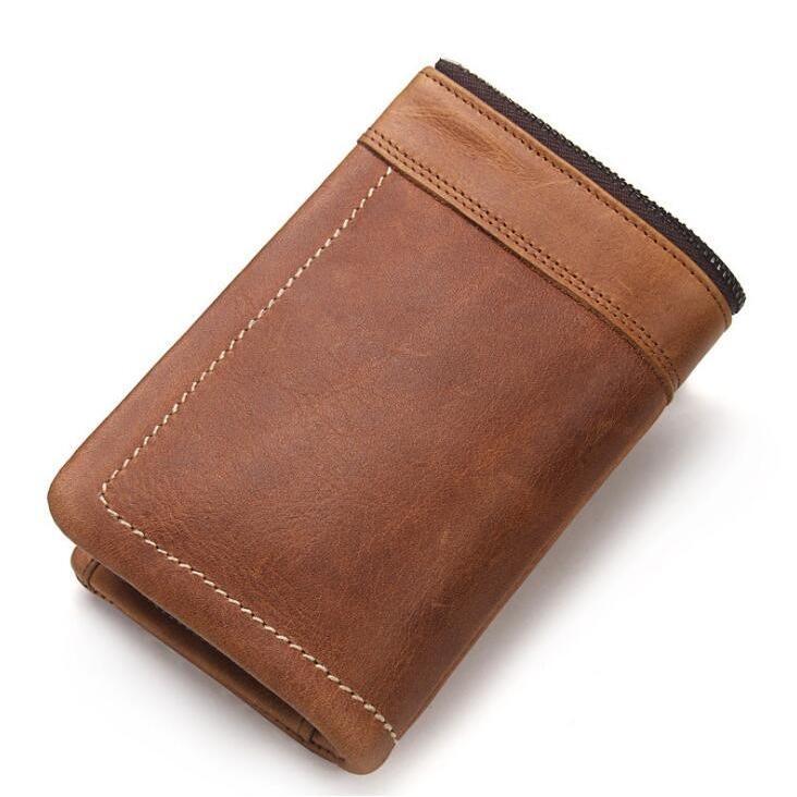 財布 メンズ財布 二つ折り サイフ さいふ 本革 牛革 小銭入れ ファスナーポケット カード入れ 軽量 ブラウン|8787-store|02