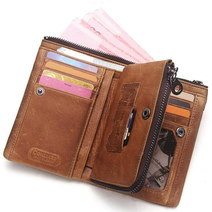 財布 メンズ財布 二つ折り サイフ さいふ 本革 牛革 小銭入れ ファスナーポケット カード入れ 軽量 ブラウン|8787-store|03