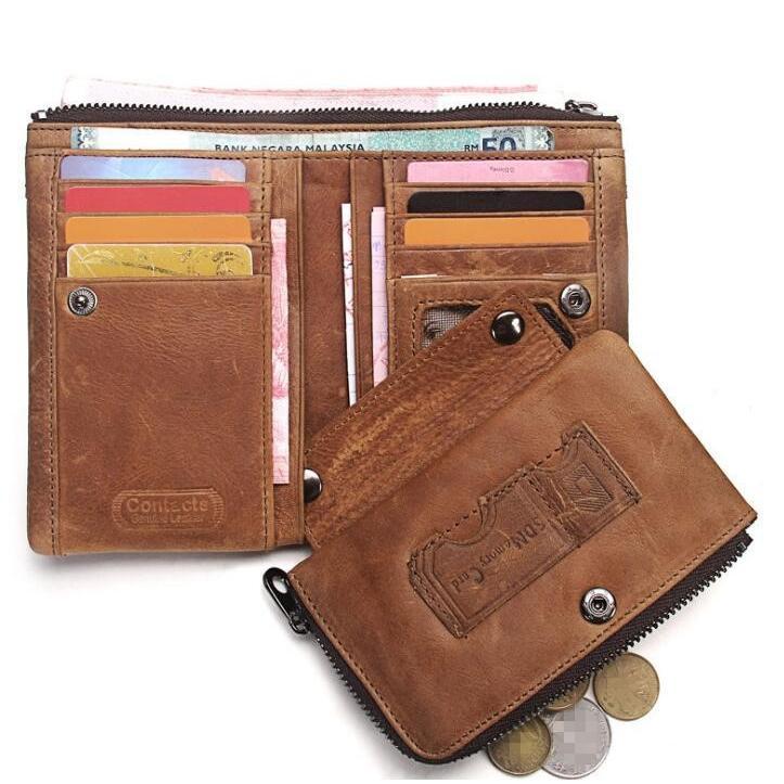 財布 メンズ財布 二つ折り サイフ さいふ 本革 牛革 小銭入れ ファスナーポケット カード入れ 軽量 ブラウン|8787-store|04