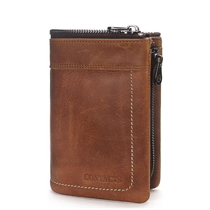 財布 メンズ財布 二つ折り サイフ さいふ 本革 牛革 小銭入れ ファスナーポケット カード入れ 軽量 ブラウン|8787-store|05