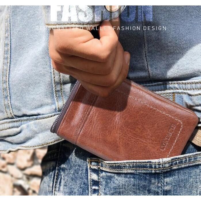 財布 メンズ財布 二つ折り サイフ さいふ 本革 牛革 小銭入れ ファスナーポケット カード入れ 軽量 ブラウン|8787-store|06
