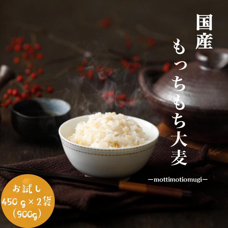 麦 大麦 900g 国内産 もっちもち大麦900g 450g×2袋 宅送 α化処理 雑穀 送料無料 お試し 新色追加 メール便 消化 安い 1kg以下 美容 食品 ポイント