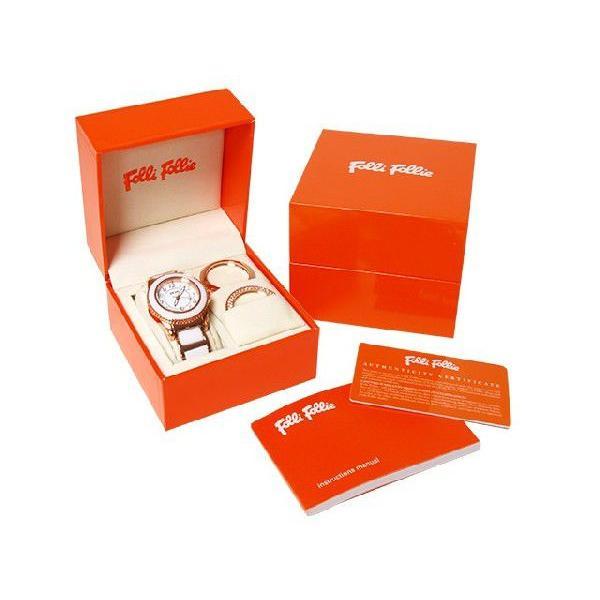 海外並行輸入正規品 FOLLIFOLLIE WF1R001BDW フォリフォリ腕時計 ゴールドXホワイトベルト 交換用ベゼル×3, 名前シールのねむっこ 7685f402