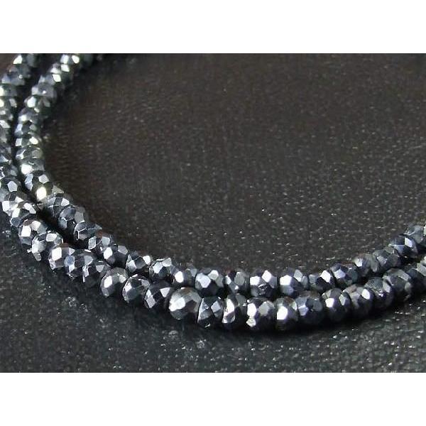 シルバースピネル ネックレス 太さ 4mm 長さ 36cm,37cm,38cm,39cm,40cm  ブラックスピネルがシルバーに輝く|a-e-shop925|02