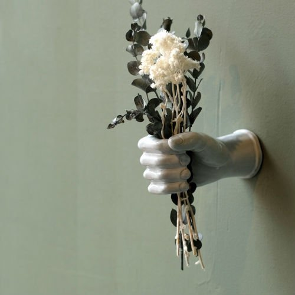 AS POTTERY WALL HAND 高品質新品 アズポタリー 一輪挿し 花瓶 男女兼用 陶器 ハンド 野花 彫刻 ドライフラワー マリア フラワーベース
