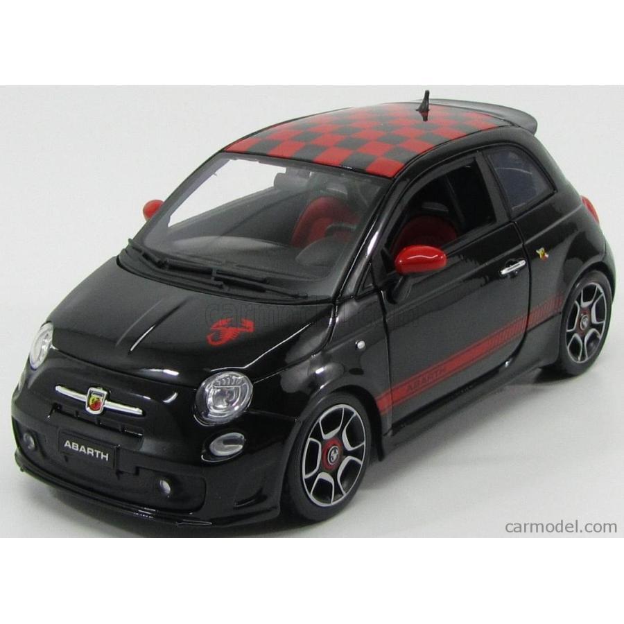 アバルト ミニカー 1/18 ブラーゴ BURAGO FIAT NUOVA 500 ABARTH 2008 TETTO A SCACCHI 黒 赤 11028BK