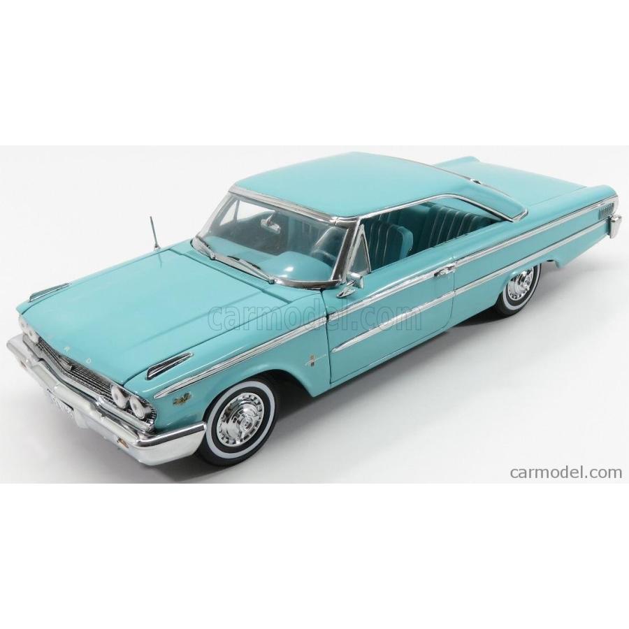 フォード ギャラクシー ミニカー 1/18 SUN-STAR FORD USA GALAXIE 500 HARD-TOP 1963 PEACOCK LIGHT 青 01466