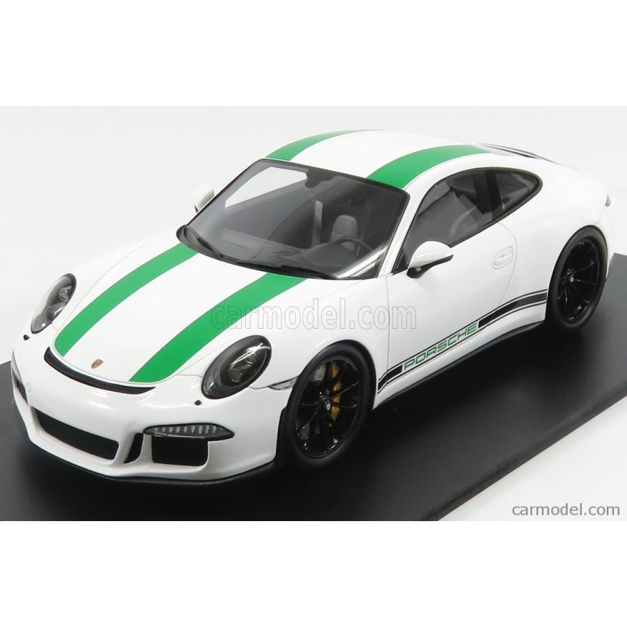 ポルシェ 911 991 ミニカー 1/18 SPARK-MODEL PORSCHE 911 991 R COUPE 2017 白い 緑 18S236