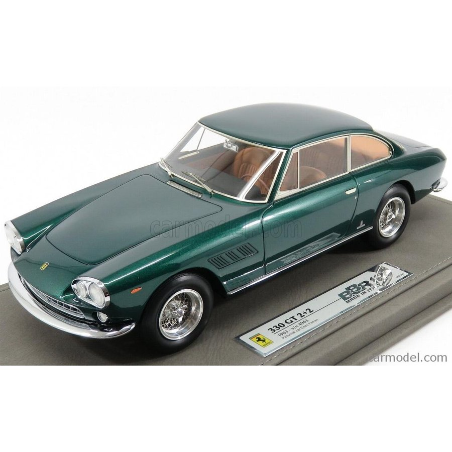 フェラーリ 330GT 1963 ミニカー 1/18 BBR-MODELS FERRARI 330GT 2+2 sn4963 COUPE 1963 PERSONAL CAR ENZO FERRARI WITH SHOWCASE 緑 MET BBR1832DV