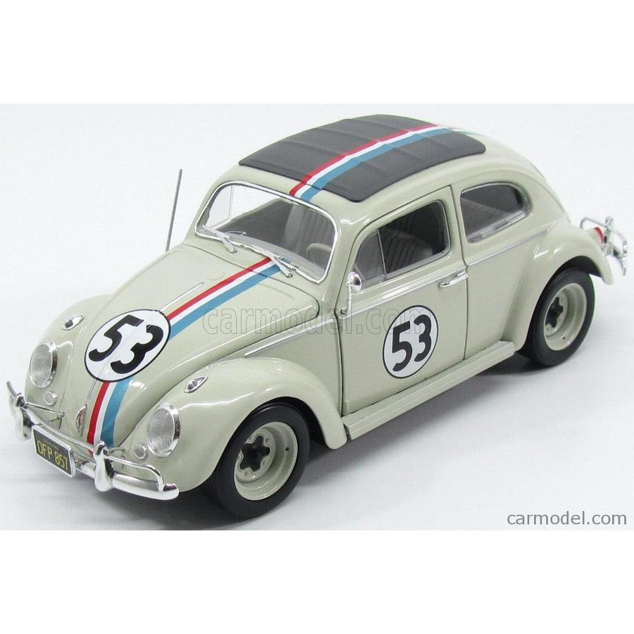 フォルクスワーゲン ビートル ミニカー 1/18 MATTEL HOT WHEELS VOLKSWAGEN BEETLE HERBIE THE LOVE BUG N 53 RALLY MONTECARLO 1962 白い BLY59