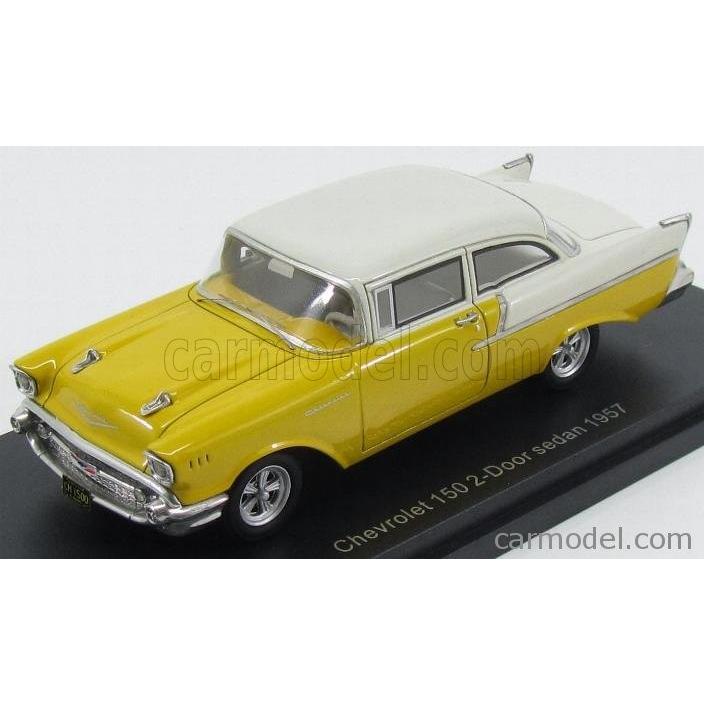 シボレー 150 ミニカー 1/43 BoS-MODELS CHEVROLET 150 2 DOOR SEDAN 1957 黄 白い BOS43635