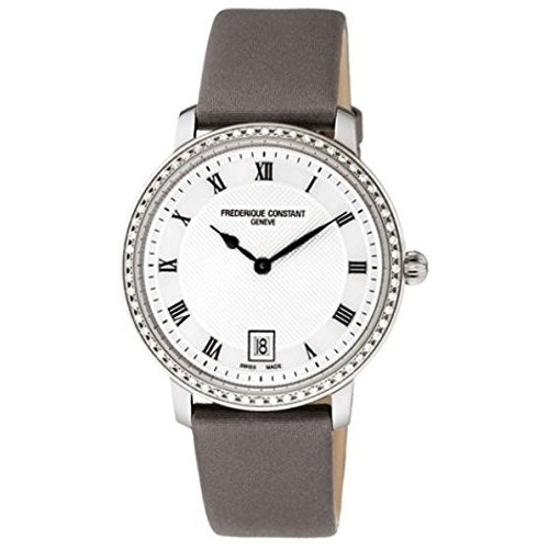 ブランド品専門の FC-220M4SD36 Frederique Constant Slim Line Silver Guilloche Dial Grey Satin Ladies Watch FC-220M4SD36, クッション生活 made in OSAKA d3240aba