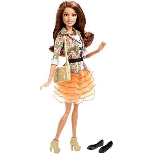 バービーBarbie Style Teresa Doll, Floral Jacket & オレンジ Ruffle Skirt