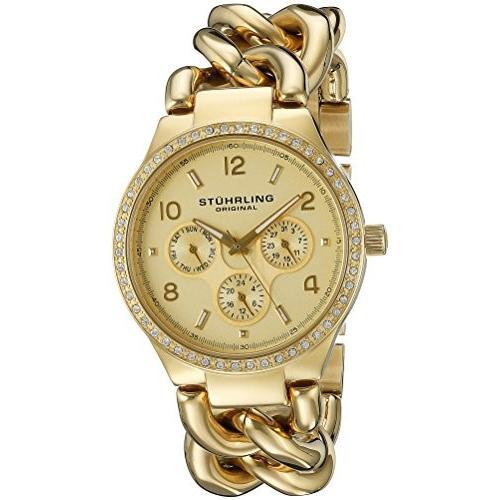 【2019春夏新色】 813S.03 Standard Stuhrling Original Women's 813S.03 Vogue Renoir Day and Date Swarovski Crystal-Accented 23k Gold-Layered Watch, タイピン&カフスの専門店 BLITZ 0bdf6f54