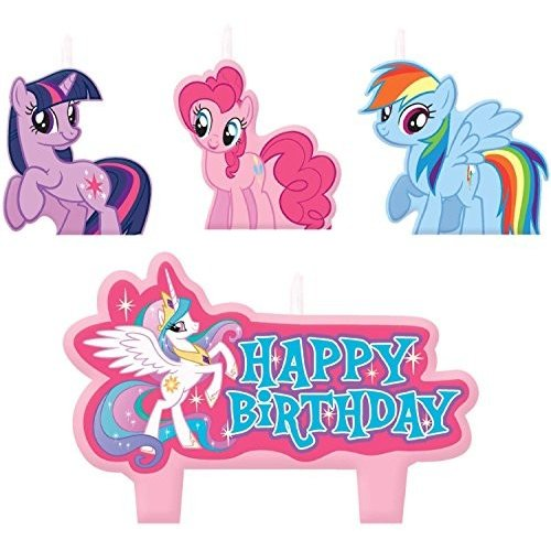 AM 179520 4 Pieces Mini Molded Cake Candles   My Little Pony Friendship Collection   Birthday