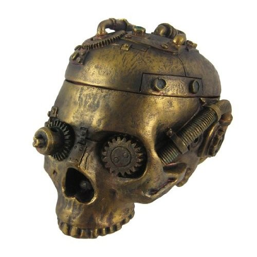 灰皿Steampunk Skull Ashtray Trinket Box with Lid Statue Statue