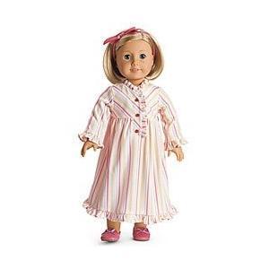 アメリカンガールドールAmerican Girl Kit's Striped Nightie for Dolls Pajamas PJ's