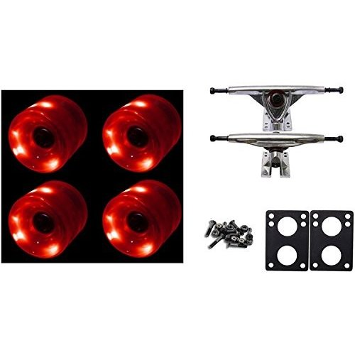 DECK LED Longboard 65mm Wheels with RKP Trucks and Abec 9 Bearings Complete Package Night Lights for Cruiser Skateboard (赤)
