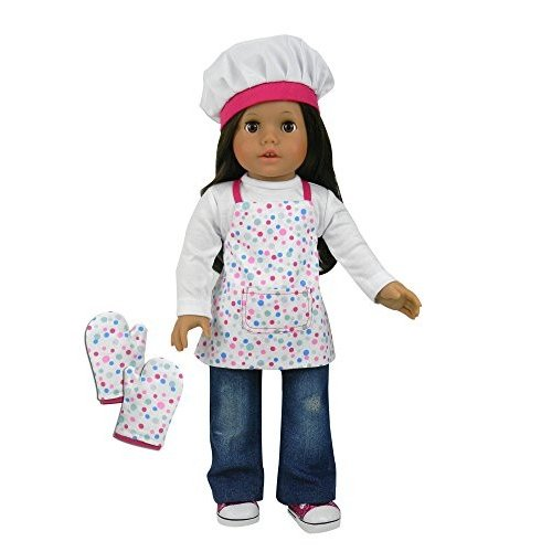 Sophia's Doll Baking Apron Set for 18 inch Dolls. 3 Pc Acessory Set American Girl Polka-Dot Apron with Mitts & Chef Hat