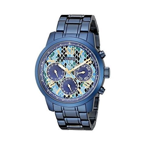 高級品市場 U0330L17 GUESS Women's U0330L17 Iconic Indigo Blue Python Print Multi-Function Watch, 北塩原村 8c695c3e