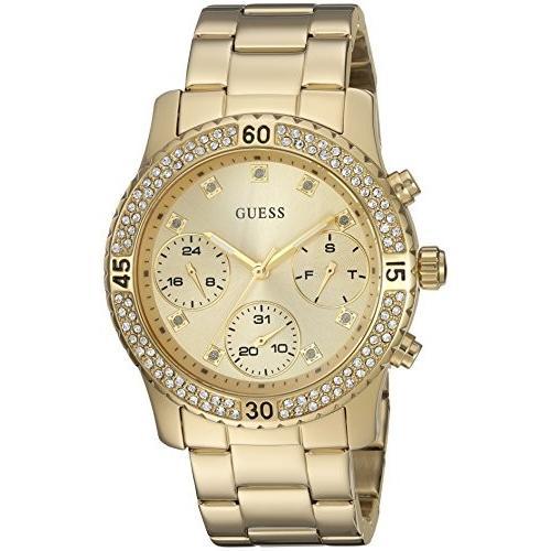 爆売り! U0851L2 Crystal-Accented GUESS U0851L2 Women's U0851L2 Sporty Gold-Tone Watch with and Gold Dial , Crystal-Accented Bezel and Stainless Steel Pilot Buckle, 新作:46174908 --- airmodconsu.dominiotemporario.com