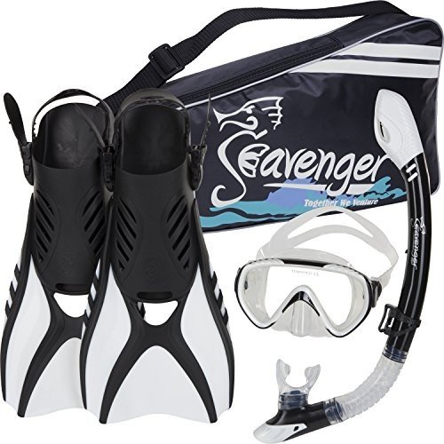 SV-SET6-W-M Medium Seavenger Diving Snorkel Set - (White) - M