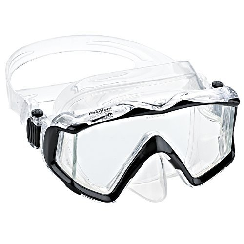 シュノーケリングPhantom Aquatics Panoramic Scuba Snorkeling Dive Mask, 黒