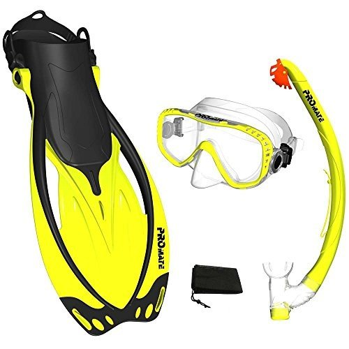 SM - Size 5 to 8.5 Promate Yellow, SM, scs0003, Snorkeling Mask Fins Dry Snorkel Set Gear Bag