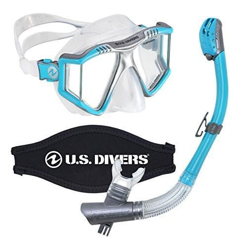トミカチョウ U.S. Divers Lux Mask Snorkel Combo with Mount Aqua with Compatible Snorkel with GoPro Cameras Aqua, アメリカより厳選買付け:リンクル:58f1aa96 --- airmodconsu.dominiotemporario.com