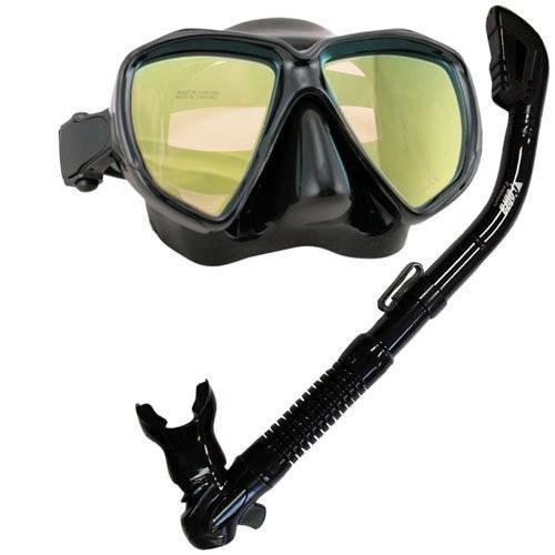 Promate Scuba Dive Dry Snorkel Snorkeling Mask w/Color Correction Lenses Combo Set, Yellow Lenses