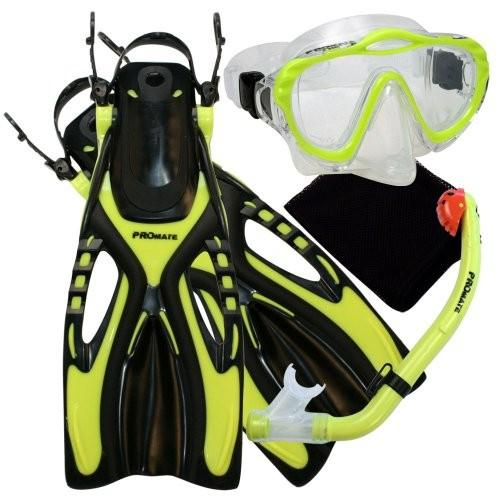L/XL (Shoe: 1-4, Age 6-10 yrs) Promate 4570, YEL, LXL, Junior Snorkeling Scuba Diving Mask Dry Snorkel Fins Set for Kids