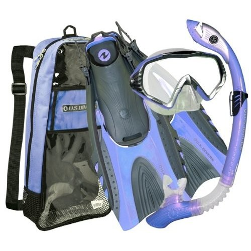 Small / Medium U.S. Divers Adult Starbuck II Purge LX Mask/Paradise Dry LX Snorkel/Hingeflex.