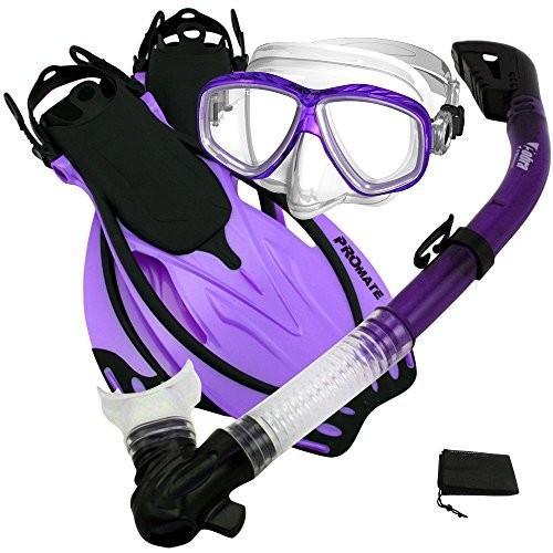 SM_Fins Promate Snorkeling Scuba Dive Dry Snorkel Purge Mask Fins Gear Set, 紫の, S/M