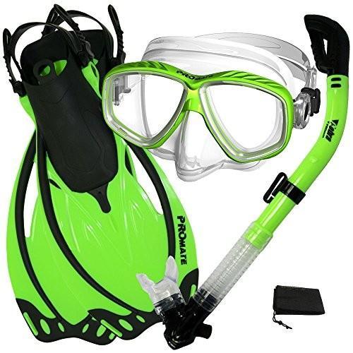 【新発売】 SM_Fins Promate Snorkeling Scuba Dive Mask Fins Dry Snorkel Gear Set, Green, Small/Medium, VEROMAN 805c26e3