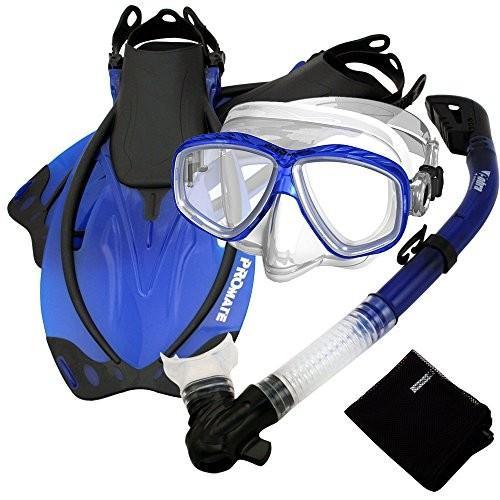 SCS0011-Blue-ML/XL MLXL_Fins Promate Snorkel Set w/Fins Snorkel Mask Mesh Bag, Blue, MLXL
