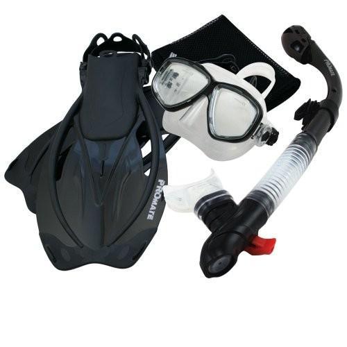 大人気定番商品 S/M Fins Promate Snorkeling Mask Dry Snorkel Fins Mesh Gear Bag Set 7590, Bk, SM, 格安販売の 22c5bfa2