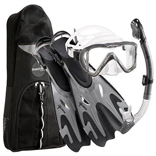 M/L, 9-12 Phantom Aquatics Premium Collection Legendary Panoramic View Silicone Adjustable Mask Fin Snorkel Set with Net BagMas (S