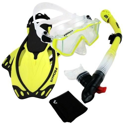 新品登場 ML/XL Promate 9990, nYellow, ML/XL, Snorkeling Scuba Dive Panoramic Purge Mask Dry Snorkel Fins Gear Set, bocca-shop ae9f6ef5