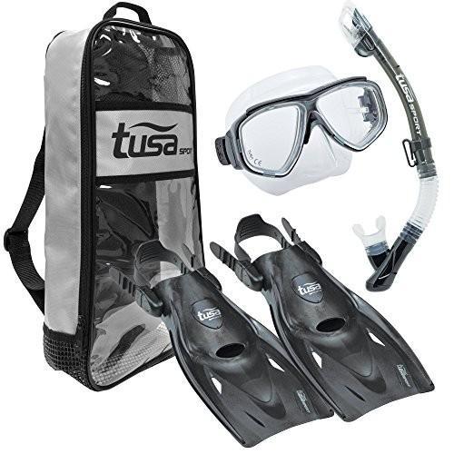 【美品】 UP-7221B-BK-M Medium TUSA Sport Adult Splendive Mask, Dry Snorkel, and Fins Travel Set, Medium, Black, 西仙北町 4b47f65b