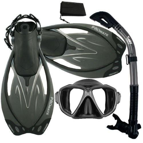 新しいコレクション ML 10-14/XL (9-13 mens, 10-14 wmns) Promate Snorkeling ML/XL Scuba Scuba Dive Dry Snorkel Mask Fins Gear Set, BlackTitanium, MLXL, J-TOP JAPAN:4bc44a6e --- airmodconsu.dominiotemporario.com